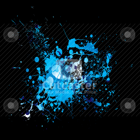 Cool dribble splat stock vector clipart, Shades of blue grunge abstract ink splat background by Michael Travers