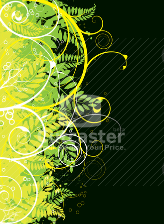 Autumn gothic green blk stock vector clipart, Nature inspired background with floral elements and leaves by Michael Travers