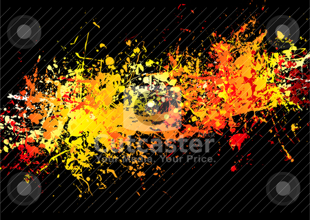 Ink crash hot stock vector clipart, Bright red and yellow ink splat background with stream of colour by Michael Travers