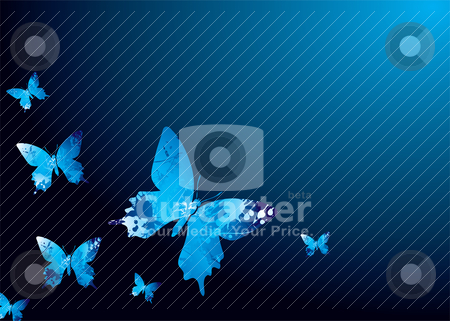 Cool butterfly stock vector clipart, Shades of blue natural background with butterflys and ink splats by Michael Travers