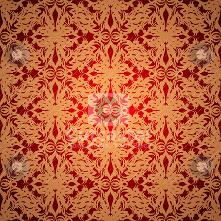 Silk golden stock vector clipart, Abstract red and gold wallpaper design with seamless repeat pattern by Michael Travers