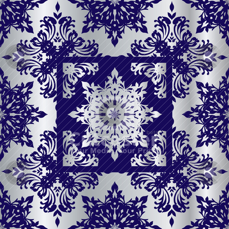 Silver cobalt reflief sq stock vector clipart, Silver and blue abstract wallpaper background with floral design by Michael Travers