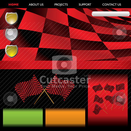 Formula racing red web stock vector clipart, Abstract red checkered background with flags and room for your text by Michael Travers