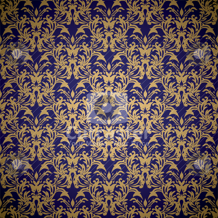 Floral royal wallpaper stock vector clipart, Golden floral seamless background design with blue gradient by Michael Travers
