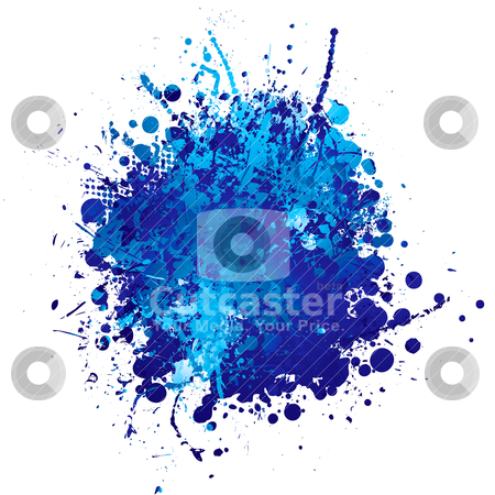 Blue ink splat stock vector clipart, Shades of blue abstract ink splat with white background by Michael Travers