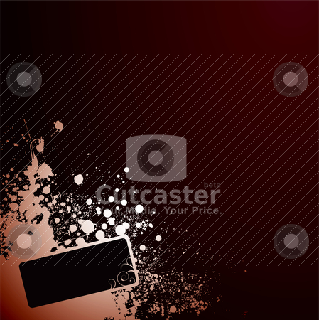 Grunge tag corner stock vector clipart, Abstract red and black corner design with copy space by Michael Travers