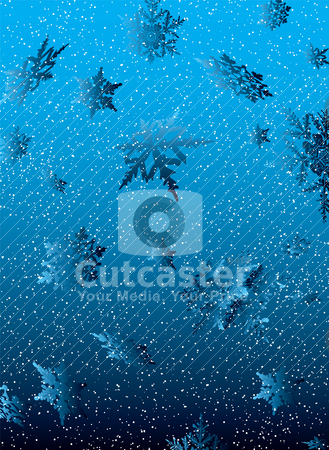 Snowflake white fall stock vector clipart, Blue and white snowfall background with winter sky ideal christmas theme by Michael Travers