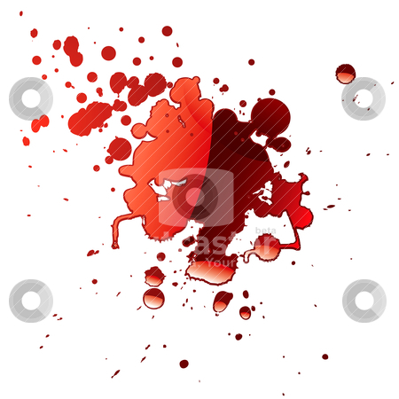 Blood reflection stock vector clipart, Pool of blood red fluid with light reflection and splatter by Michael Travers