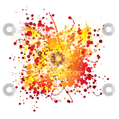 Hot ink splat white stock vector clipart, Red and yellow abstract ink splat with white background by Michael Travers