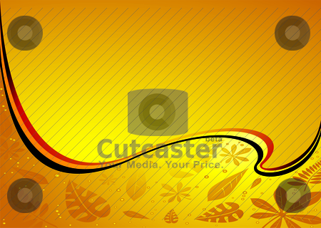 Amber wave streach stock vector clipart, Leaves caught in amber with bubbles and room for text by Michael Travers