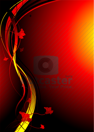 Autimn fire stock vector clipart, Red hot background with floral elements and room to add text by Michael Travers