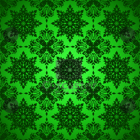 Green gothic repeat stock vector clipart, Shades of green seamless repeat background with floral design by Michael Travers