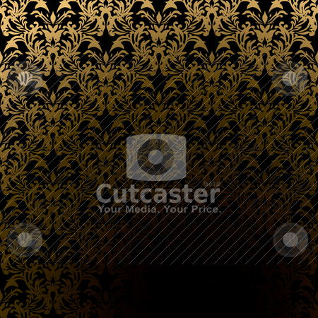 Golden tunnel wallpaper stock vector clipart, Classic golden wallpaper pattern with room to add your own text by Michael Travers