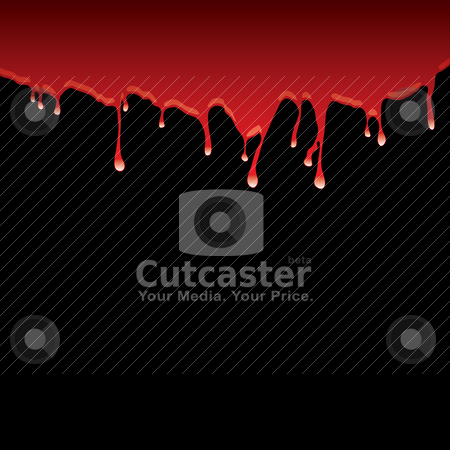 Blood dribble black stock vector clipart, Blood red top border with dribble effect and black background by Michael Travers