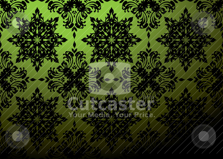 Green wallpaper blend stock vector clipart, Gothic repeat wallpaper design in green and black by Michael Travers
