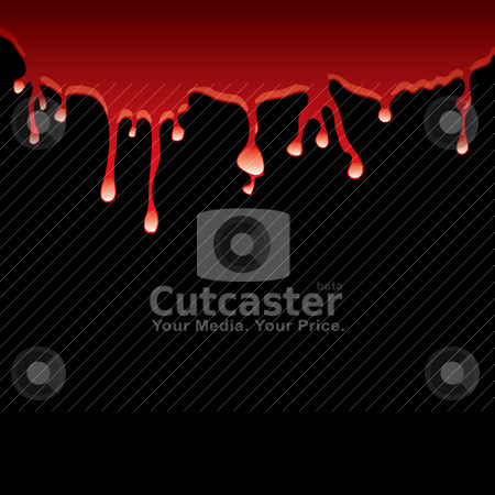 Black blood stock vector clipart, Slick of blood dribbling down a black background with light reflection by Michael Travers