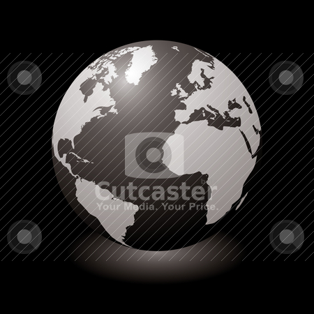 World black glow stock vector clipart, Modern globe with light shadow and black background by Michael Travers