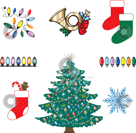 Christmas Icons 3 stock vector clipart, Set of eight Christmas or Holiday Icons. Vector Illustration. by Basheera Hassanali