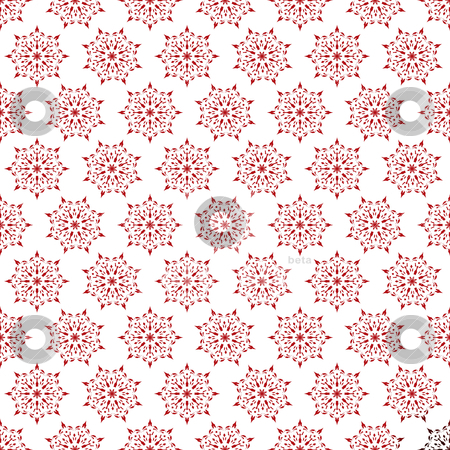 Floral small wallpaper stock vector clipart, Red and white seamless repeat design with star shape by Michael Travers