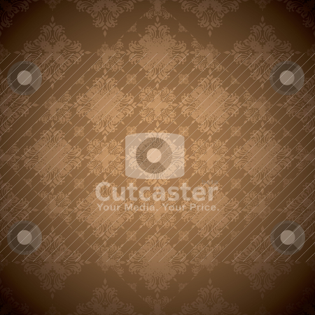 Brown repeat wallpaper stock vector clipart, Brown seamless background with overlap square design with faded edge by Michael Travers