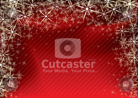 Christmas red star stock vector clipart, Red and black christmas background with yellow star burst and snowflakes by Michael Travers