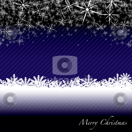 Christmas snow drift stock vector clipart, Blue and white christmas scene with snow flakes falling from the sky by Michael Travers