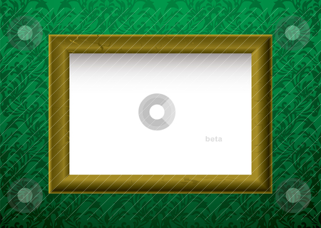Gold frame on green stock vector clipart, Green wallpaper background with golden wooden picture frame by Michael Travers