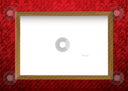 Wood frame on red stock vector clipart, Red wallpaper wall with shadow and wooden framed picture with copy space by Michael Travers