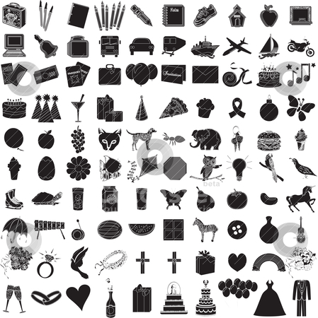 100 Icon Set 1 stock vector clipart, Vector Illustration of 100 Icon Objects with outlines. Everything from holiday to supplies. by Basheera Hassanali