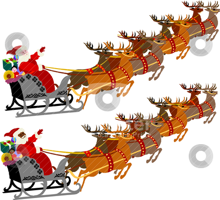 Santa with Sleigh and Reindeer stock vector clipart, Santa with Sleigh and Reindeer, vector illustration of 2 versions. by Basheera Hassanali