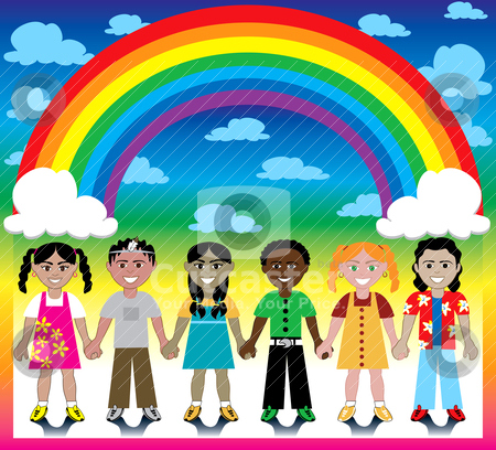 Rainbow Background with Kids stock vector clipart, Vector Illustration of 6 happy kids under a rainbow with a colorful backgound and a place for text or imagery. by Basheera Hassanali
