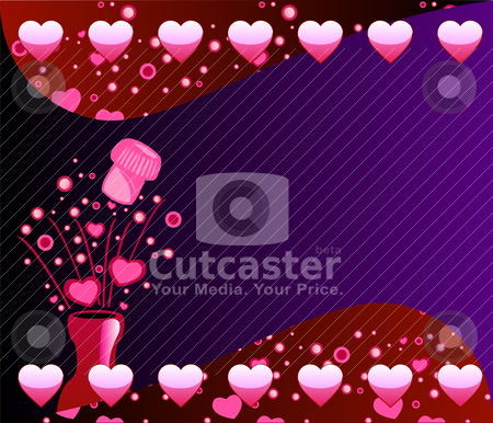 Valentine Champagne Background 2 stock vector clipart, Vector Valentine Champagne Background 2 with Bubbles and Hearts. by Basheera Hassanali