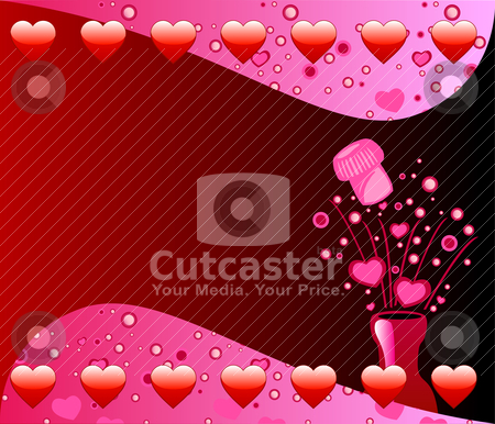 Valentine Champagne Background stock vector clipart, Vector Valentine Background with Popped Champagne Bottle bubbles and hearts. by Basheera Hassanali