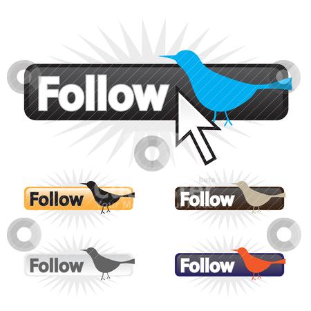 Follow Bird Icons stock vector clipart, Social bird follow icons in a fully editable vector format. by Todd Arena