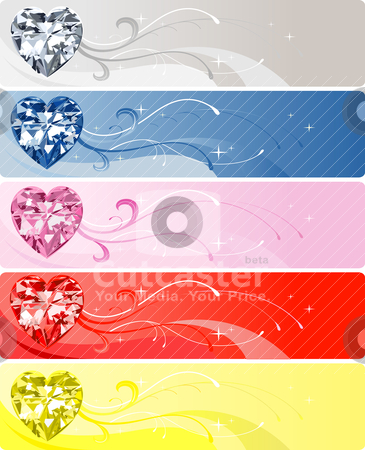 5 Diamond Heart Banners stock vector clipart, Vector Illustration of 5 Diamond or Crystal Heart Banners. by Basheera Hassanali