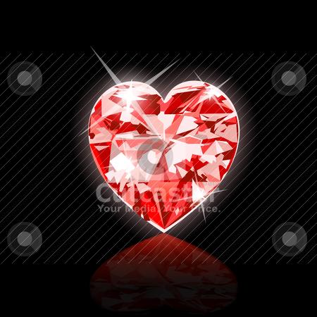 Red Diamond Heart stock vector clipart, Vector Illustration of Red Diamond Heart. Illustrator 10 and newer. by Basheera Hassanali