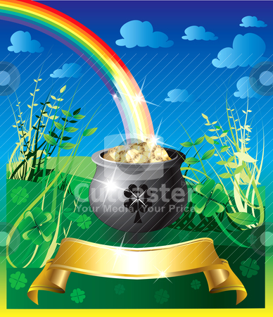 St. Patrick's Day Rainbow 2 stock vector clipart, Vector Illustration of pot of gold rainbow with a colorful backgound and a place for text or imagery. by Basheera Hassanali