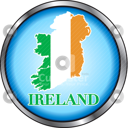 Ireland Round Button stock vector clipart, Vector Illustration for Ireland, Round Button. Used Didot font. by Basheera Hassanali