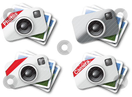 Camera icons stock vector clipart,  by Tobias Bj?