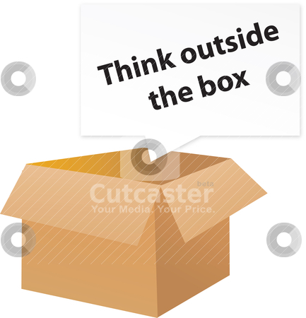 Think outside the box stock vector clipart, Think outside the box metaphor by Tobias Bj?
