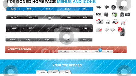 Six designed homepage menus and icons stock vector clipart,  by Tobias Bj?