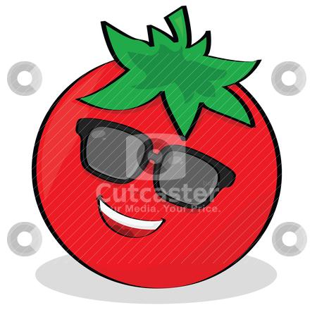 Cool tomato stock vector clipart, Cartoon illustration of a cool tomato wearing sunglasses by Bruno Marsiaj