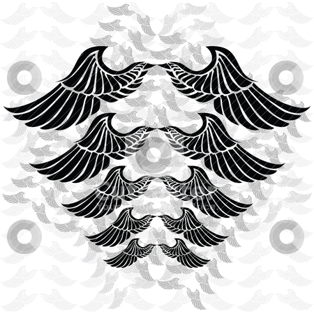 Wings stock vector clipart, Illustration of a pair of wings in different sizes and tones. Background in separate layer. by Bruno Marsiaj