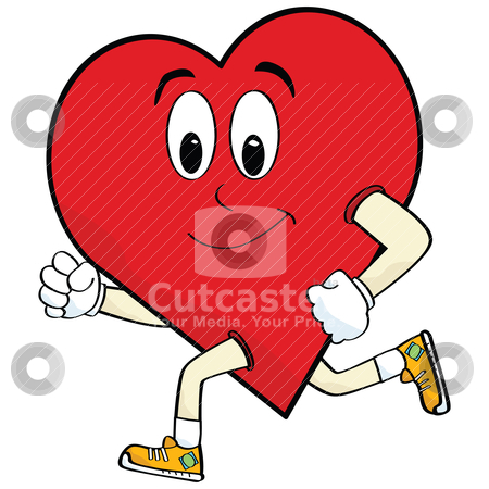 Running heart stock vector clipart, Cartoon illustration of a heart running to keep healthy by Bruno Marsiaj