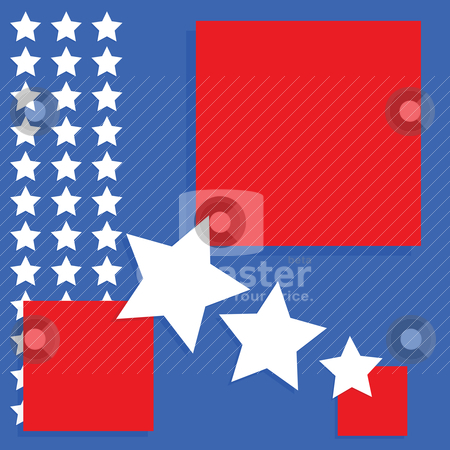 USA background stock vector clipart, Background image with an United States theme - blue and red squares with white stars by Bruno Marsiaj