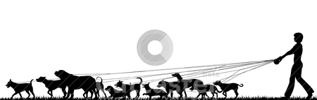 Female dog walker stock vector clipart, Foreground silhouette of a woman walking many dogs with all elements as separate editable objects by Robert Adrian Hillman