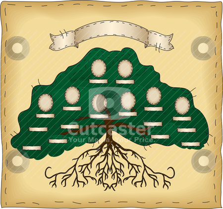 Build Your Own Family Tree stock vector clipart, A primitive folk art style tree. Cameo ovals and name tags are individually grouped so that you may easily duplicate or remove as needed. by Neeley Spotts