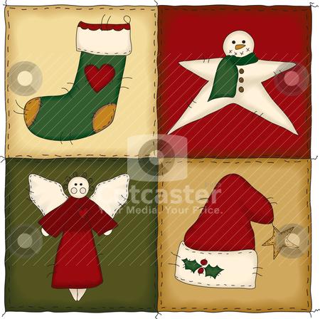 Folk Art Christmas Quilt stock vector clipart, Four folk art country style quilt blocks by Neeley Spotts