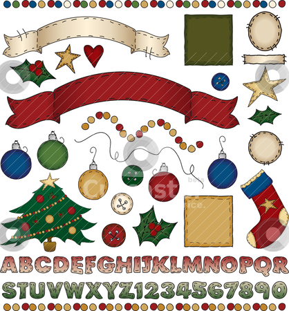 Folk Art Christmas Scrapbook Kit stock vector clipart, A huge assortment of holiday goodies for your crafting fun! by Neeley Spotts