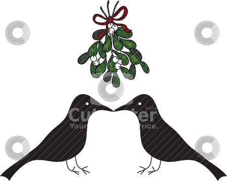Folk Art Kissing Crows under Mistletoe stock vector clipart, Merry Christmas Kiss by Neeley Spotts